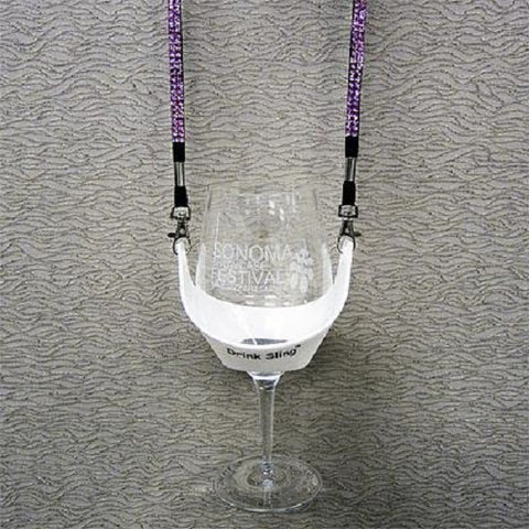 White Hands Free Wine Glass Holder with Pink Bling Lanyard - DSI Depot