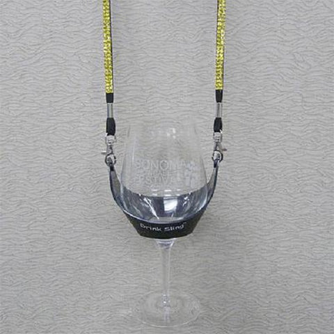 Black Hands Free Wine Glass Holder with Yellow Bling Lanyard - DSI Depot