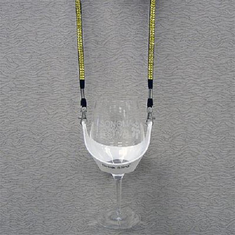 White Hands Free Wine Glass Holder with Yellow Bling Lanyard - DSI Depot