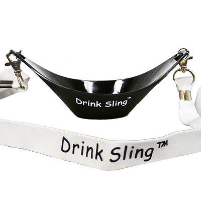 Black Hands Free Wine Glass Holder with White Simple Lanyard - DSI Depot