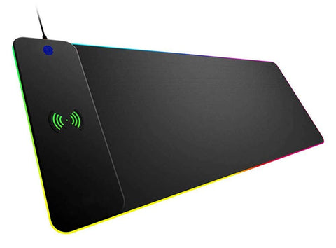 iRocks 10W Wireless Charger RGB Mouse Pad LED Gaming Keyboard Mat Wireless Charging Large Mousepad Non Slip Rubber Base Water Resistant Model # C16E - DSI Depot