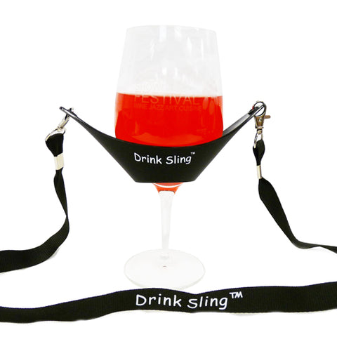Black Hands Free Wine Glass Holder with Black Simple Lanyard - DSI Depot