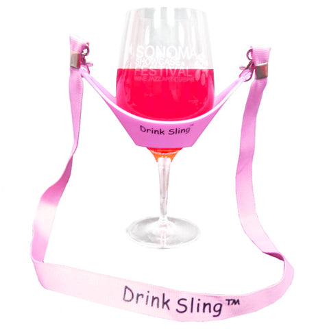 Pink Hands Free Wine Glass Holder with Pink Simple Lanyard - DSI Depot