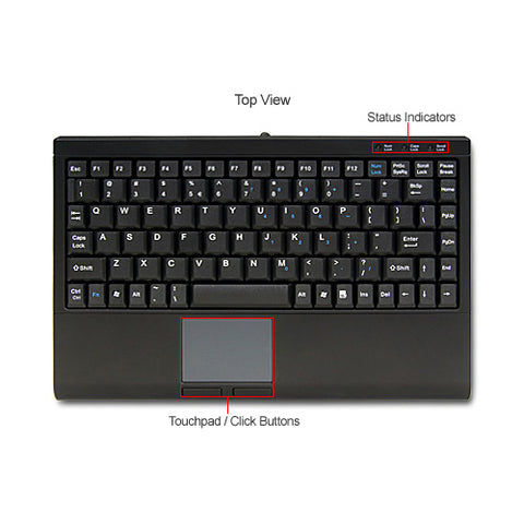 Solidtek Compact USB Keyboard with Touchpad KB-ASK3910UB - DSI Depot
