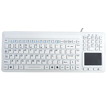Waterproof IP68 Silicone USB Keyboard with Touchpad IKB107 - White - DSI Depot