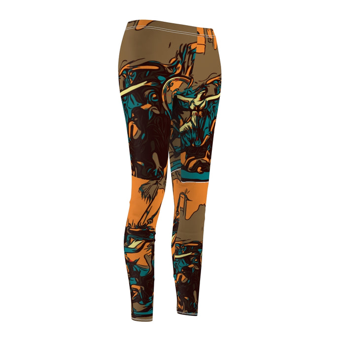 ORNG/TEAL KNURD ART WOMEN'S LEGGINGS
