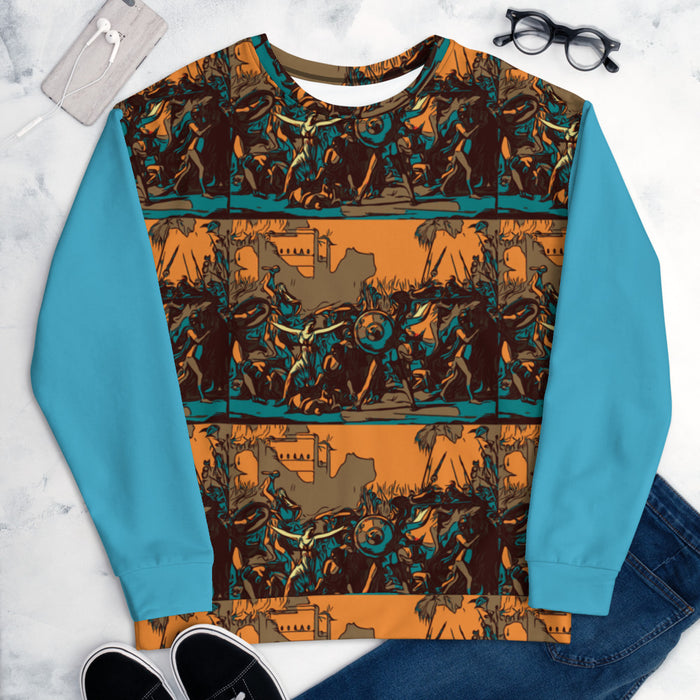ORNG/TEAL KNURD HIGH ART SWEATER