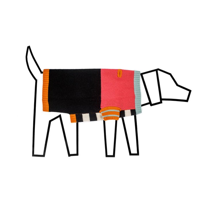WARE of the DOG Crazy Stripe dog sweater in orange and black