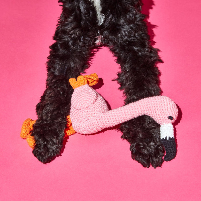WARE of the DOG hand crochet flamingo dog toy