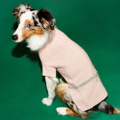 WARE of the DOG Bow dog sweater in pink with grey details