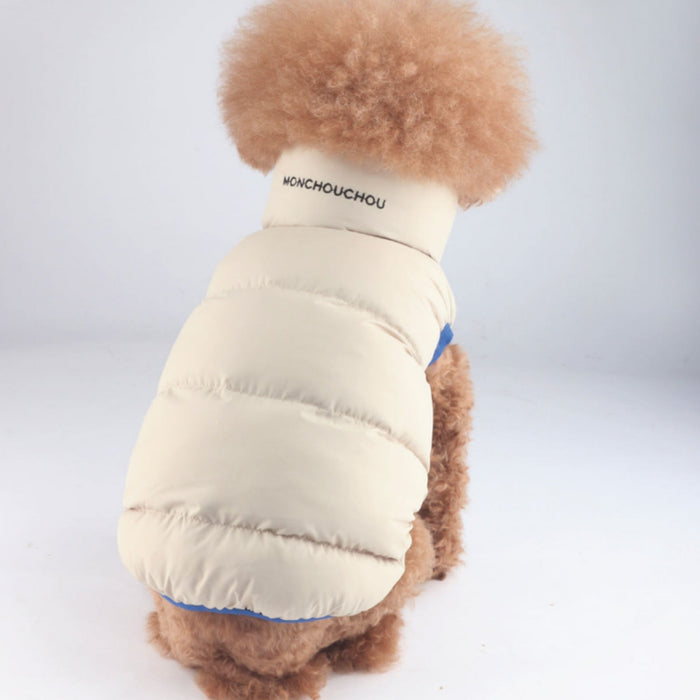 Air Fill Down winter dog puffer vest in beige