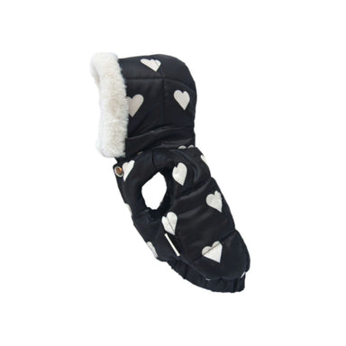 Big Heart Padding winter dog vest in black