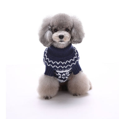 Knit Christmas dog jumper in blue pattern