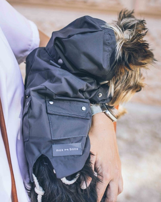 Talon dog raincoat in midnight black