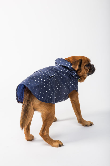 WARE of the DOG Navy Blue Polka Dot Anorak Raincoat