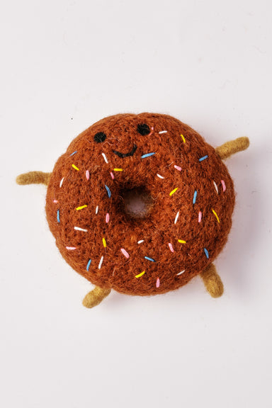 WARE of the DOG boiled wool donut toy in chocolate