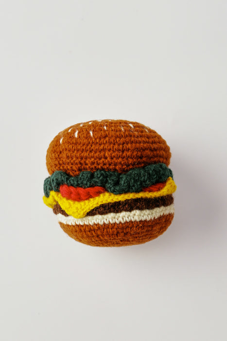 WARE of the DOG hand knit hamburger dog toy