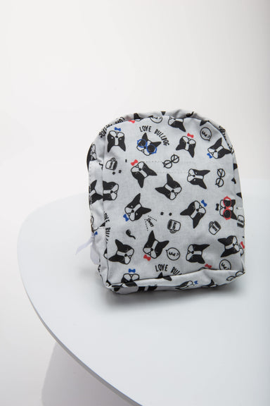 FLOUFFY FEEL snackies dog backpack in grey with bulldog print