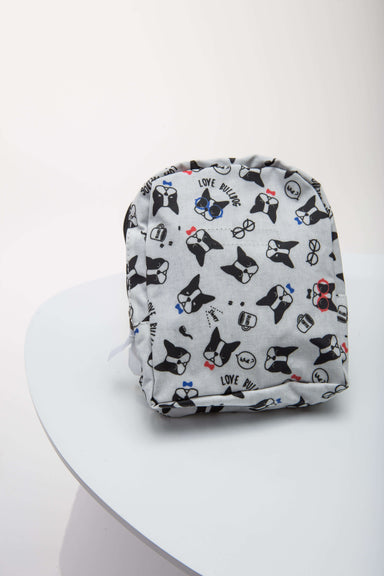 FLOUFFY FEEL snackies dog backpack in white with bulldog print