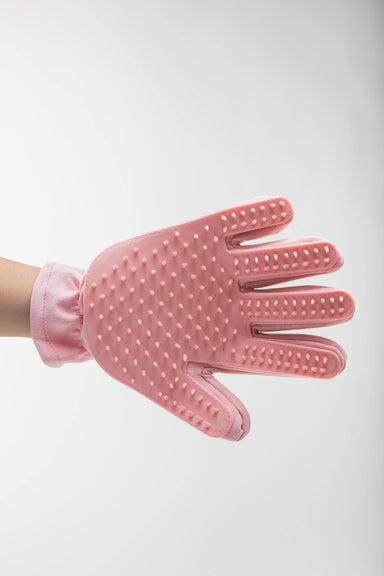 FLOUFFY FEEL grooming gloves with silicone for de-shedding in pink