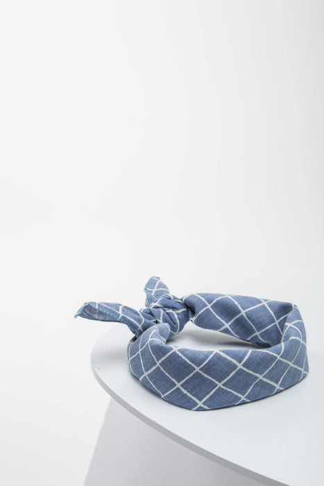 FLOUFFY FEEL dog bandana neckerchief/headscarf in blue with stripes