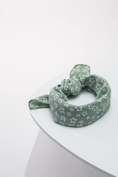 FLOUFFY FEEL dog bandana neckerchief/headscarf in green floral print