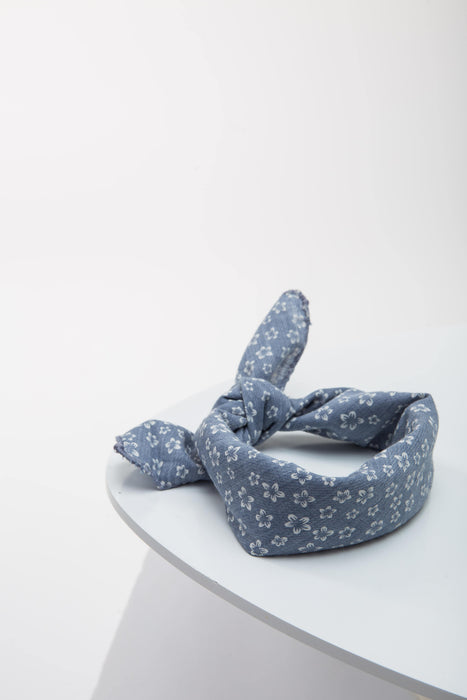 FLOUFFY FEEL dog bandana neckerchief/headscarf in blue floral print