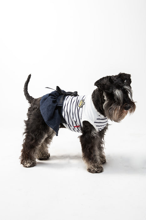 FLOUFFY FEEL striped dog t-shirt with denim skirt and crown detail