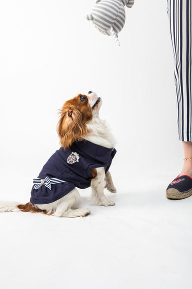 FLOUFFY FEEL nautical dog dress in navy with a bow detail