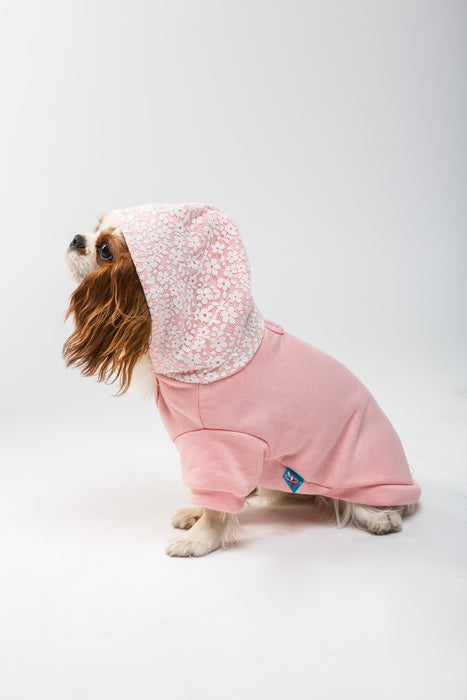 FLOUFFY FEEL fleece dog hoodie in pink with ice cream detail