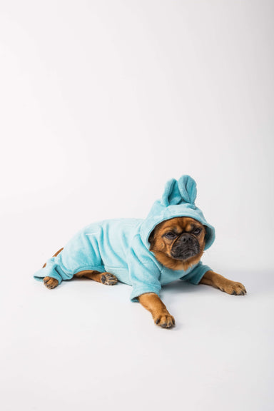 FLOUFFY FEEL fleece dog onesie in green with bunny hoodie