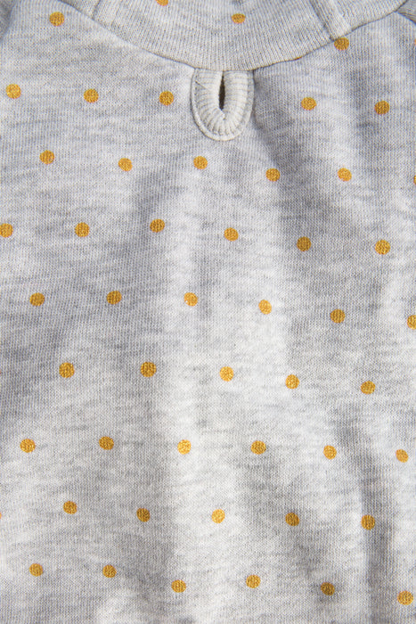 FLOUFFY FEEL grey dog hoodie in gold polka dot