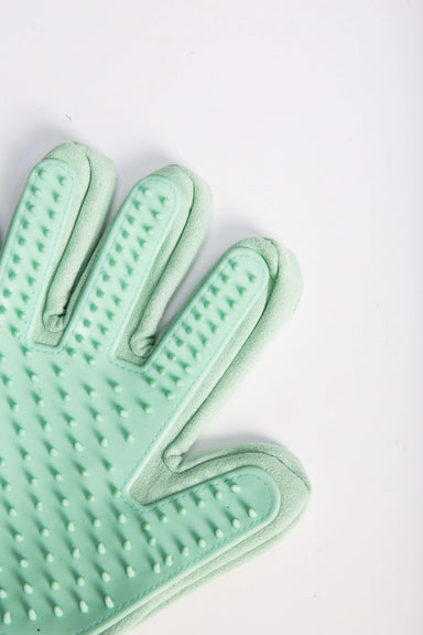 FLOUFFY FEEL grooming gloves with silicone for de-shedding in green