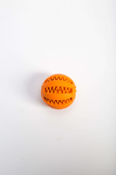 FLOUFFY FEEL chewing rubber ball for dog teeth cleaning in orange