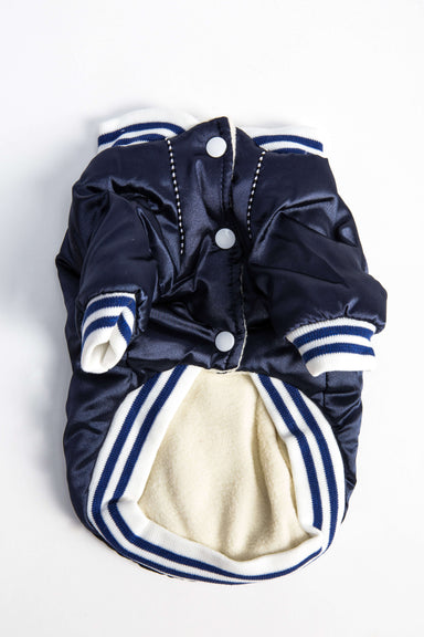 "FLOUFFY FEEL oversized ""Dogbaby"" bomber dog jacket in navy"