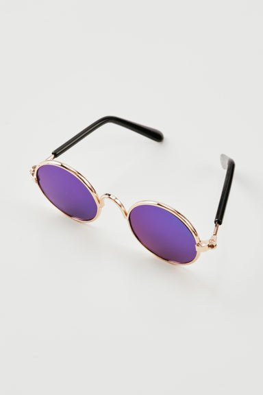 FLOUFFY FEEL round dog sunglasses with blue/purple lens