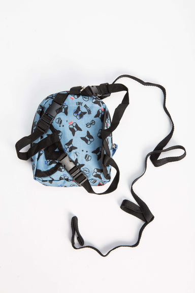 FLOUFFY FEEL snackies dog backpack in blue with bulldog print