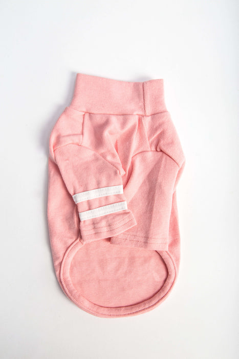 FLOUFFY FEEL soft turtleneck cotton dog shirt in pink with stripes