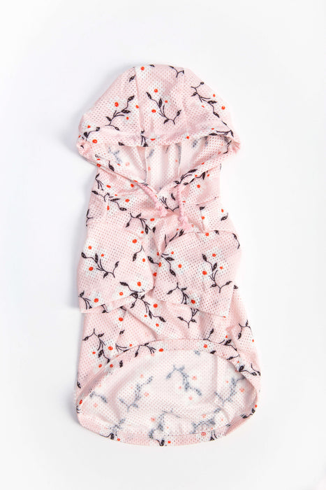 FLOUFFY FEEL sun-proof floral dog hoodie in pink