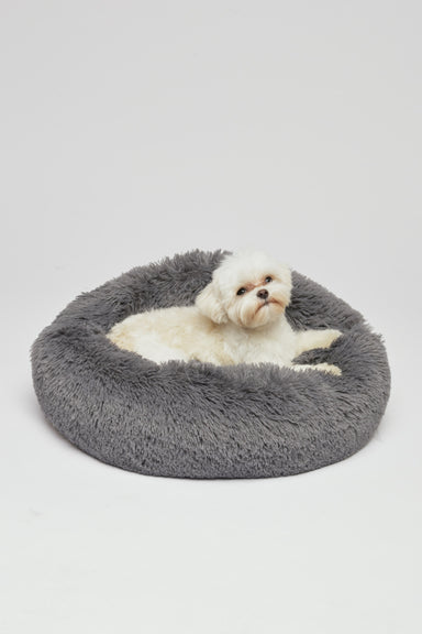 FLOUFFY FEEL super soft donut dog bed in dark grey