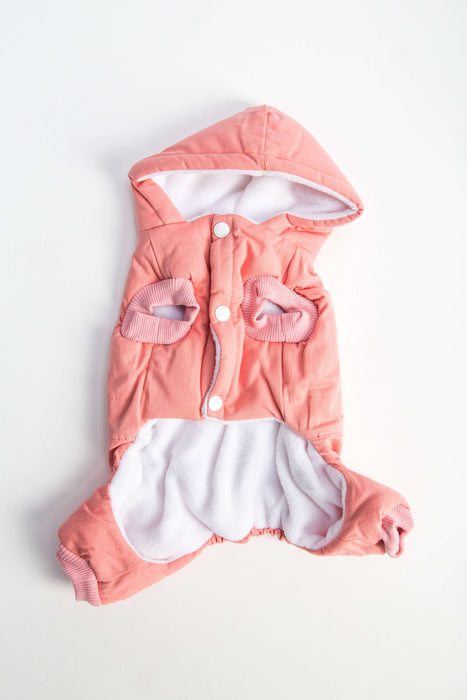 FLOUFFY FEEL wind dog jacket with hoodie in pink