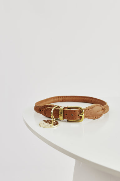 NICE DIGS Stevie rolled Nappa leather dog collar in vintage tan