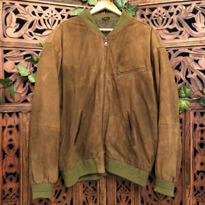 Men's Vintage Suede Bomber Jacket - Large/Extra Planetary People