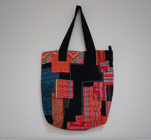 Vintage embroidered patchwork tote bag YI CRAFTS