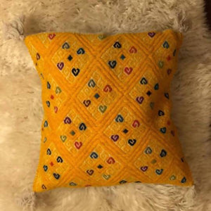 Yellow Aztec Print Handwoven Cushion Cover