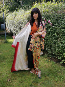 019 BEAUTIFUL PATCHWORK DESIGN VINTAGE SILK KIMONO