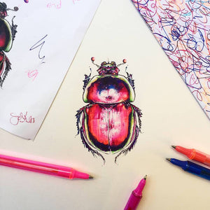 Gold Leaf Egyptian Scarab Beetle Illustration BiroBugs