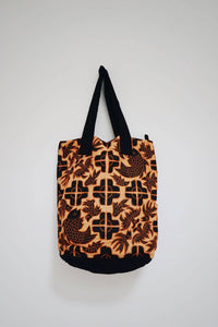 Miao embroidery fish and bat applique bag