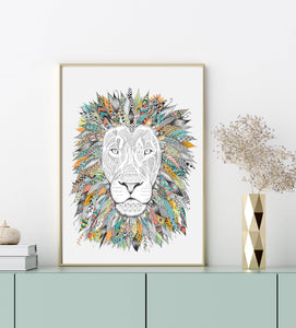 A4 African Lion Illustrated Art Print - Wall Art Ideas - Home Decor