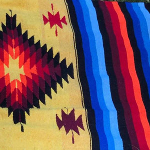 Large Aztec Handwoven Throw/Rug Planetary People